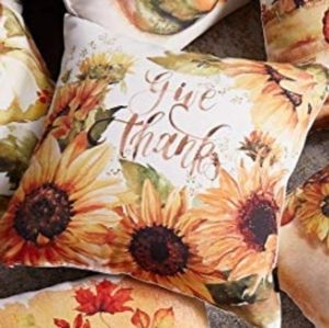"""⭐NEW⭐ - 🍂🌻 Sunflower """"Give Thanks""""  Pillow-18×18"""